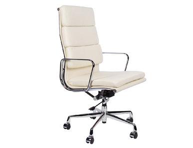 Кресло Eames Style HB Soft Pad Executive Chair EA 219 кремовая кожа от дизайнера CHARLES & RAY EAMES