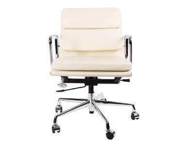 Кресло Eames Style Soft Pad Office Chair EA 217 кремовая кожа от дизайнера CHARLES & RAY EAMES