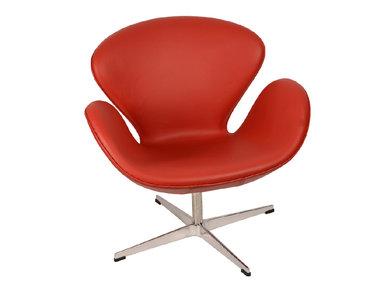 Кресло Style Swan Chair красная кожа от дизайнера Arne Jacobsen