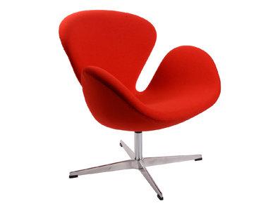 Кресло Style Swan Chair красная шерсть от дизайнера Arne Jacobsen