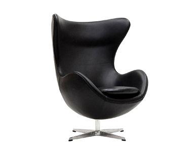 Кресло Style Egg Chair черная кожа от дизайнера Arne Jacobsen