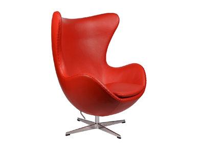 Кресло Egg Chair RedDeluxML035 база алюминий, кожа красная от дизайнера Arne Jacobsen