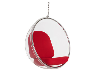Кресло Bubble Chair красные подушки от дизайнера Eero Aarnio