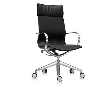 Кресло Mercury HB черная кожа, матовый алюминий от студии дизайна BARTOLI DESIGN