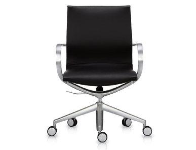 Кресло Mercury LB черная кожа, матовый алюминий от студии дизайна BARTOLI DESIGN