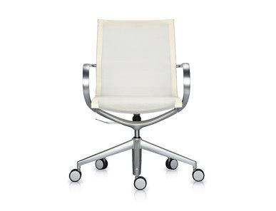 Кресло Mercury LB тепло-белая 3D-сетка, матовый алюминий от студии дизайна BARTOLI DESIGN