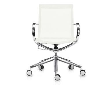 Кресло Mercury LB чисто-белая сетка, матовый алюминий от студии дизайна BARTOLI DESIGN