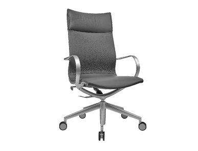 Кресло Mercury HB серая кожа, матовый алюминий от студии дизайна BARTOLI DESIGN