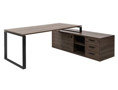 Стол EXE на опорной тумбе L189 черный орех мароне/черный от дизайнерской студии Profoffice