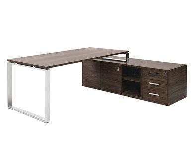 Стол EXE на опорной тумбе L229 хром орех мароне/хром от дизайнерской студии Profoffice