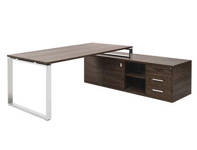 Стол EXE на опорной тумбе L189 хром орех мароне/хром от дизайнерской студии Profoffice