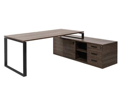 Стол EXE на опорной тумбе L229 черный орех мароне/черный от дизайнерской студии Profoffice