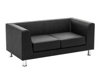 Дизайнерский диван Eva 2-местный черная кожа от дизайнерской студии Profoffice