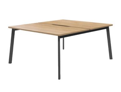Офисный стол Flex для двоих сотрудников гикори/графит от дизайнерской студии Profoffice