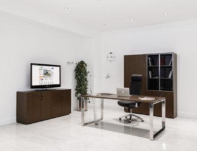 Стол руководителя Exe (Орех Мароне, Хром) от дизайнерской студии Profoffice