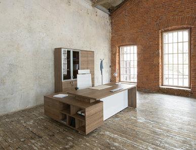 Стол руководителя на опорной тумбе Terra капучино от дизайнерской студии Profoffice