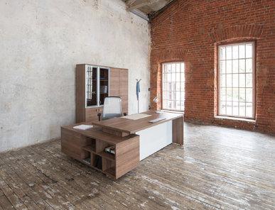 Стол руководителя на опорной тумбе Terra мали от дизайнерской студии Profoffice