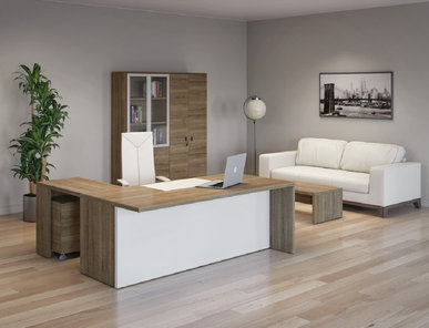 Стол для руководителя с приставкой Terra капучино от дизайнерской студии Profoffice