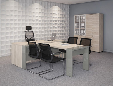 Стол руководителя с приставкой для брифинга Lava гавана от дизайнерской студии Profoffice