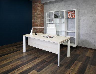 Офисный стол Fermo Light 180 см белые опоры от дизайнерской студии Profoffice