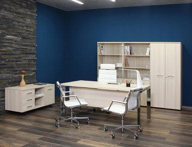 Офисный стол Fermo Light 200 см хромированные опоры от дизайнерской студии Profoffice