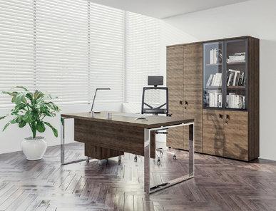 Стол руководителя Rola с передней панелью (Табак, Хром) от дизайнерской студии Profoffice
