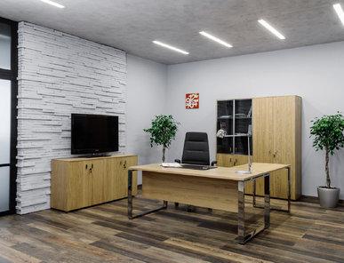Стол руководителя Exe Г-образный (Дуб Флоре) от дизайнерской студии Profoffice