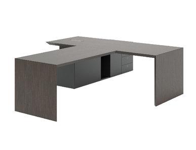 Стол руководителя MultipliCEO с приставкой для брифинга (дуб темный) от дизайнерской студии Profoffice