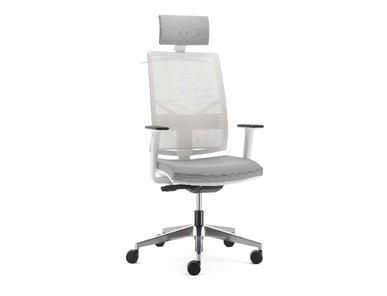 Кресло Play белое, темно-серая подушка, с подголовником от дизайнерской студии Profoffice