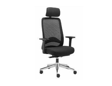 Кресло для руководителя Carot AS Plus с подголовником черное, алюминий от дизайнерской студии Profoffice
