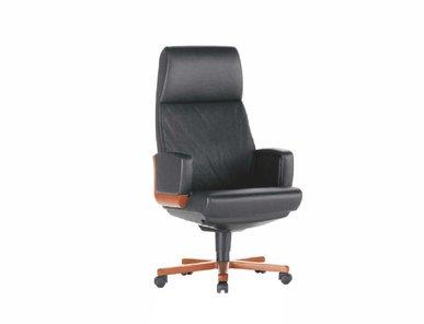 Кресло руководителя Dazato Dico Wood A (кожа, темн.орех/черное) от дизайнерской студии Profoffice
