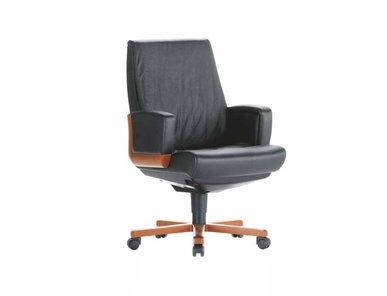 Кресло для переговоров Dazato Dico Wood B (кожа, темн.орех/черное) от дизайнерской студии Profoffice