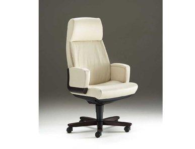 Кресло руководителя Dazato Dico Wood A (кожа, беж/венге) от дизайнерской студии Profoffice