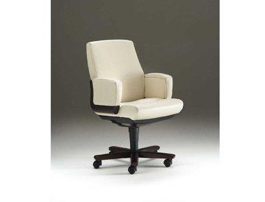 Кресло для переговоров Dazato Dico Wood B (кожа, беж/венге) от дизайнерской студии Profoffice
