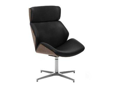 Кресло для переговорных Charm High Wood Lounge черное/орех от дизайнерской студии Profoffice