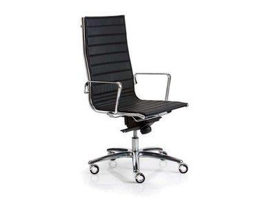Кресло Luxy LIGHT A черное кожаное (высокая спинка) фабрики Luxy