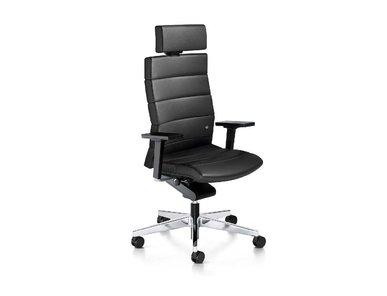 Кресло CHAMP черное кожаное (высокая спинка) фабрики Interstuhl