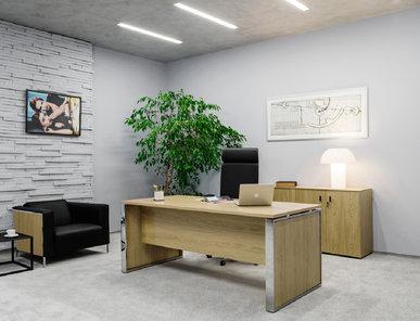 Стол руководителя Exe со вставками в опору (Дуб Флоре) фабрики Modern Design