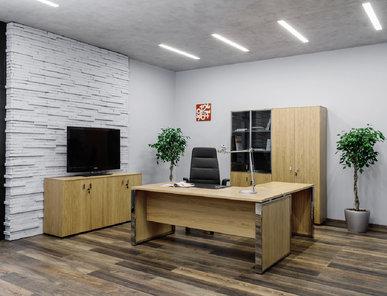 Стол руководителя Exe Г-образный со вставками в опору (Дуб Флоре) фабрики Modern Design