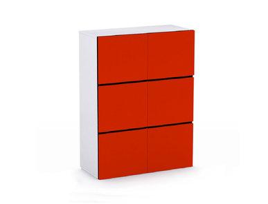 Офисный шкаф JAZZ красный (трехъярусный) на ножках фабрики Narbutas