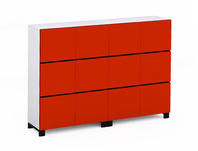 Офисный шкаф JAZZ красный (12 отделений)  фабрики Narbutas