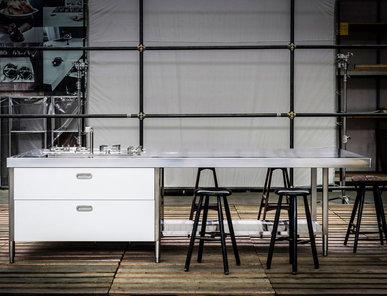 Итальянский кухонный гарнитур 125х310 фабрики ALPES INOX