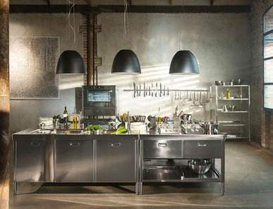 Итальянский кухонный гарнитур 195х320 фабрики ALPES INOX