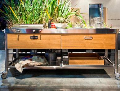 Итальянский кухонный гарнитур 190 Wooden Drawers фабрики ALPES INOX