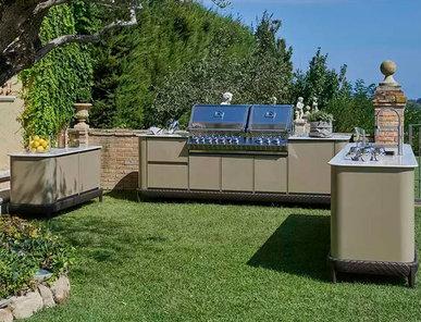 Итальянская кухня для улицы Curved Kitchen Multi-Element фабрики DFN by Samuele Mazza