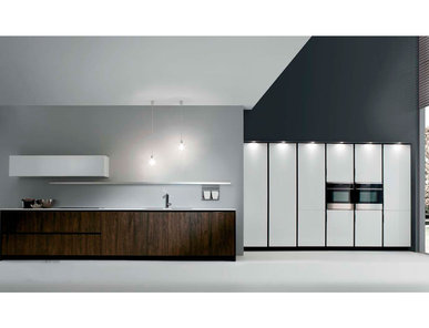 Итальянская кухня R1 Moka Oak Low Pressure Laminate Glossy Lacquered White фабрики RASTELLI