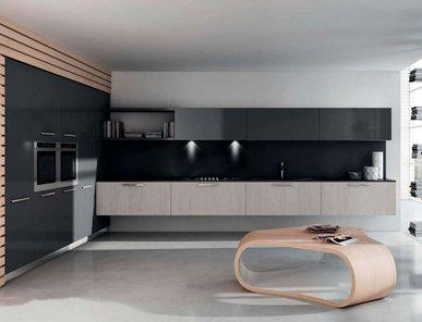 Итальянская кухня R1 Oat Straw Oak Glossy Grey Laminate фабрики RASTELLI