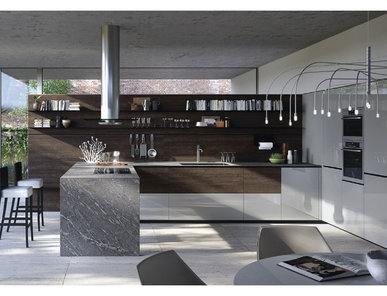 Итальянская кухня Forma Mentis con anta in finitura legno rovere Rondover фабрики VALCUCINE
