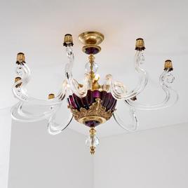 Итальянская люстра BAROCCO PL4/Violet-Gold фабрики EUROLUCE LAMPADARI