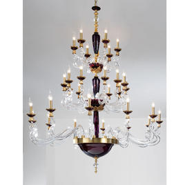 Итальянская люстра BAROCCO L12+12+6/H200/Violet-Gold фабрики EUROLUCE LAMPADARI